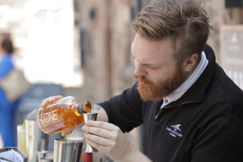 Kieron Hall making an Old Fashioned cocktail